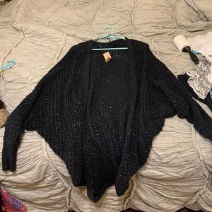 American Eagle Navy White Speckles Knit Cardigan